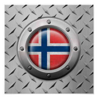 Industrial Norwegian Flag with Steel Graphic Poster