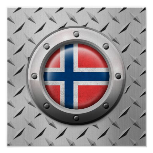Industrial Norwegian Flag with Steel Graphic Posters