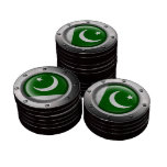 Industrial Pakistani Flag with Steel Graphic Poker Chips Set