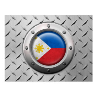 Industrial Philippines Flag with Steel Graphic Postcard