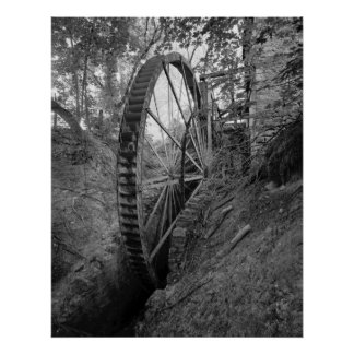 Industrial Photo - Grist Mill Water Wheel Print