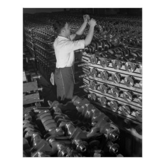 Industrial Photo - Half Track Crankshafts WW2 Print