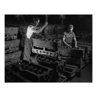 Industrial Photo - Military Engine Blocks WW2 Poster