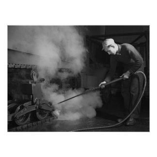 Industrial Photo - Steam Cleaning WW2 Half Track Poster