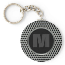 Industrial Pierced Metal Look in Greys and Black Keychain