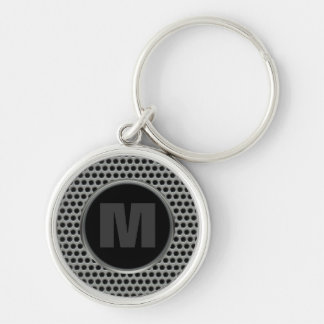 Industrial Pierced Metal Look in Greys and Black Silver-Colored Round Keychain