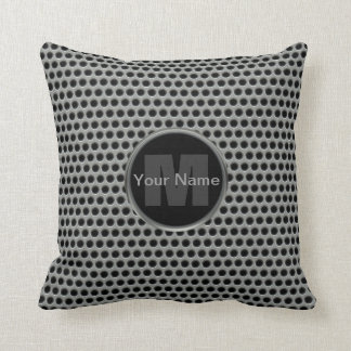 Industrial Pierced Metal Look in Greys and Black Throw Pillow
