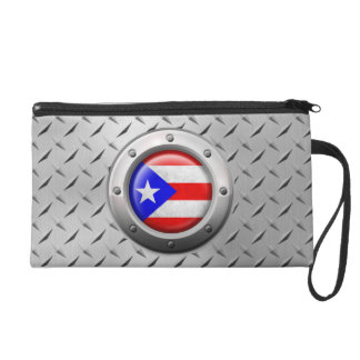 Industrial Puerto Rican Flag Steel Graphic Wristlet Clutches