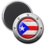 Industrial Puerto Rican Flag Steel Graphic Refrigerator Magnet