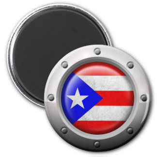 Industrial Puerto Rican Flag Steel Graphic Refrigerator Magnet