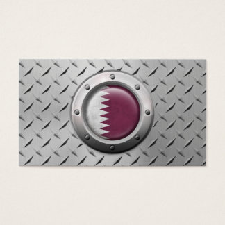 Industrial Qatari Flag with Steel Graphic Business Card