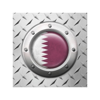 Industrial Qatari Flag with Steel Graphic Stretched Canvas Print