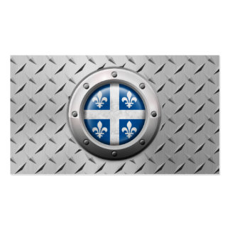 Industrial Quebec Flag with Steel Graphic Business Card Template