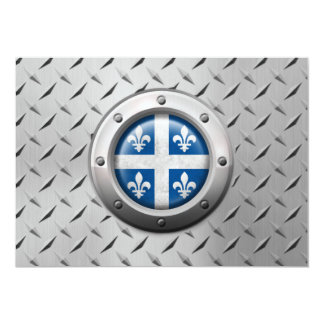 Industrial Quebec Flag with Steel Graphic 5x7 Paper Invitation Card
