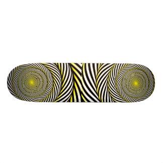 Industrial Retro-hypnotic skateboard/ Yellow Skateboard