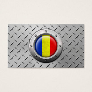Industrial Romanian Flag with Steel Graphic Business Card