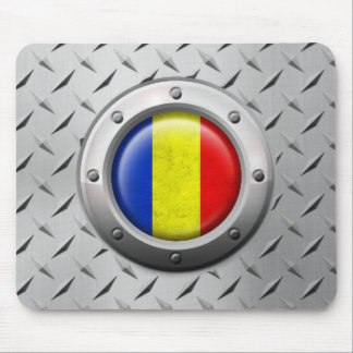 Industrial Romanian Flag with Steel Graphic Mouse Pad