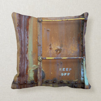 Industrial Rust: Keep Off Photography Throw Pillow