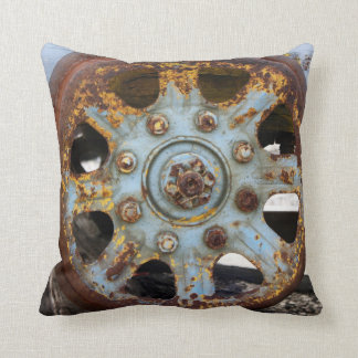Industrial Rust: Spokes, Photography Throw Pillow