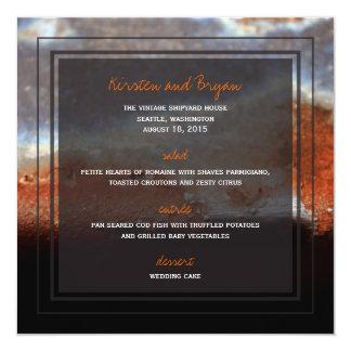 Industrial Rust Steel Grunge Photo Wedding Menu Card