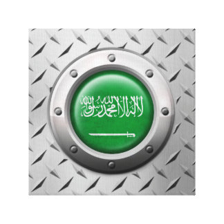 Industrial Saudi Arabian Flag Steel Graphic Gallery Wrapped Canvas