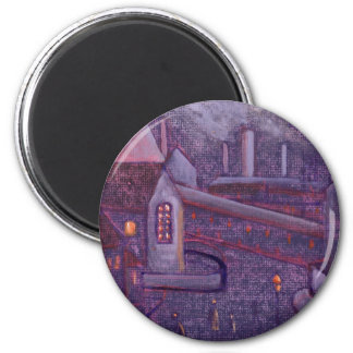 INDUSTRIAL SCENE WITH A CROOKED SPIRE 2 INCH ROUND MAGNET