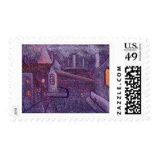 INDUSTRIAL SCENE WITH A CROOKED SPIRE POSTAGE STAMP