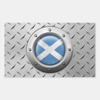 Industrial Scottish Flag with Steel Graphic Rectangular Sticker