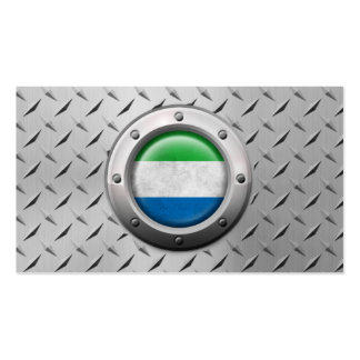 Industrial Sierra Leone Flag Steel Graphic Business Card Templates