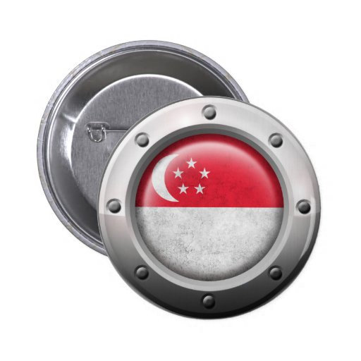 Industrial Singapore Flag with Steel Graphic Pinback Button