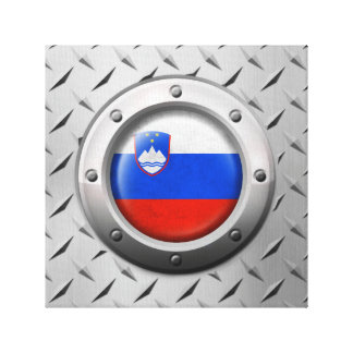 Industrial Slovenian Flag with Steel Graphic Gallery Wrapped Canvas