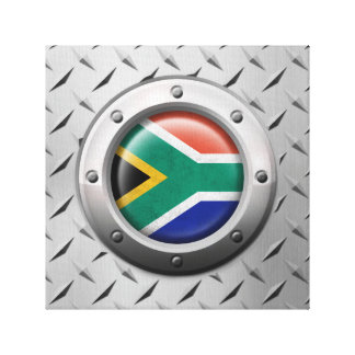 Industrial South African Flag Steel Graphic Stretched Canvas Print