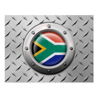 Industrial South African Flag Steel Graphic Postcard