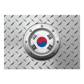 Industrial South Korean Flag Steel Graphic Custom Invitation