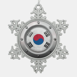 Industrial South Korean Flag Steel Graphic Snowflake Pewter Christmas Ornament