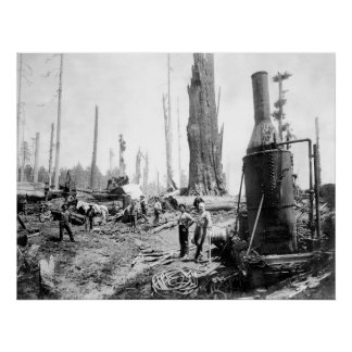 INDUSTRIAL STEAM AGE LOGGING c. 1880 Poster
