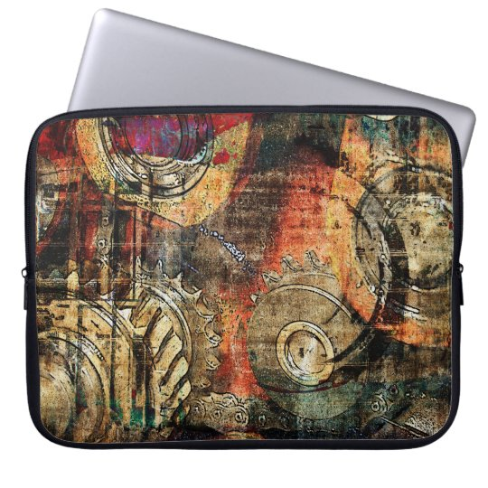 industrial steampunk collage computer sleeve