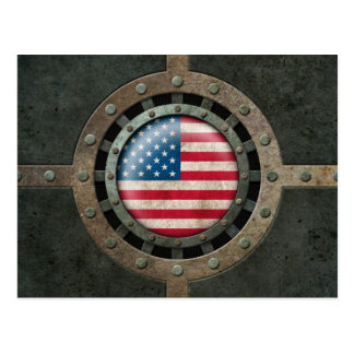 Industrial Steel American Flag Disc Graphic Postcard