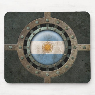 Industrial Steel Argentinian Flag Disc Graphic Mouse Pad