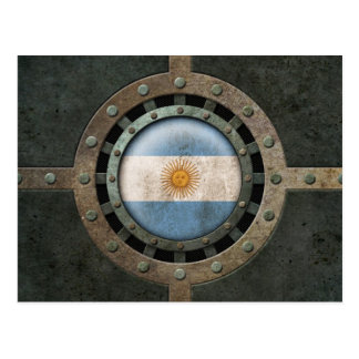 Industrial Steel Argentinian Flag Disc Graphic Postcard