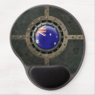Industrial Steel Australian Flag Disc Graphic Gel Mouse Pad