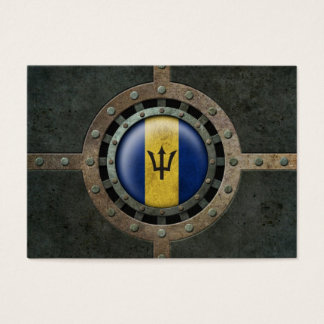 Industrial Steel Barbados Flag Disc Graphic Business Card