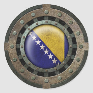 Industrial Steel Bosnia Herzegovina Flag Disc Classic Round Sticker