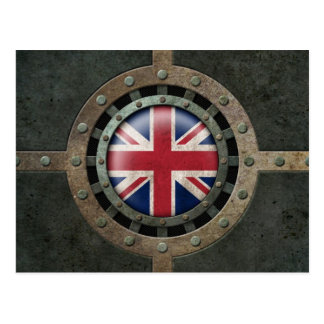 Industrial Steel British Flag Disc Graphic Postcard