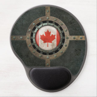 Industrial Steel Canadian Flag Disc Graphic Gel Mouse Pad