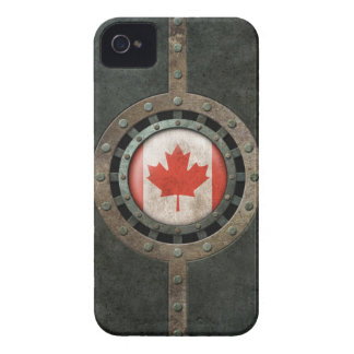 Industrial Steel Canadian Flag Disc Graphic iPhone 4 Cover