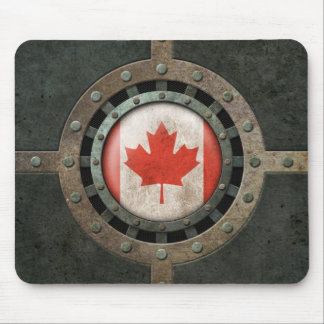 Industrial Steel Canadian Flag Disc Graphic Mouse Pad