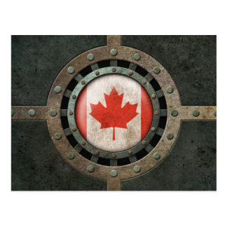 Industrial Steel Canadian Flag Disc Graphic Postcard