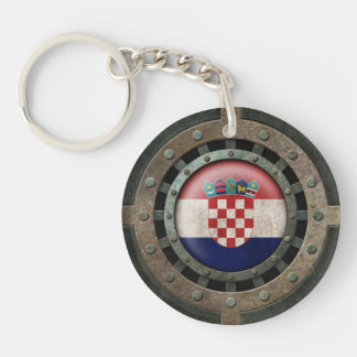 Industrial Steel Croatian Flag Disc Graphic Double-Sided Round Acrylic Keychain