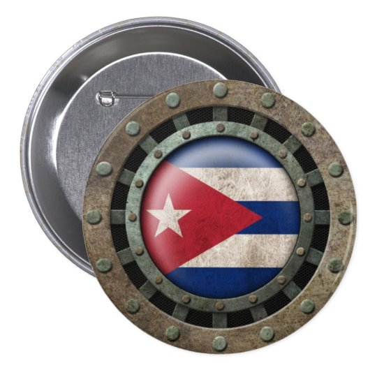 Industrial Steel Cuban Flag Disc Graphic Pinback Button
